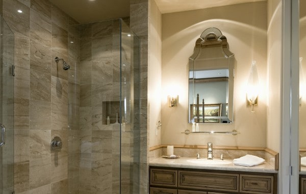 Beautiful bathroom in a Phoenix AZ home showcasing a new glass shower enclosure installed by Glass King.