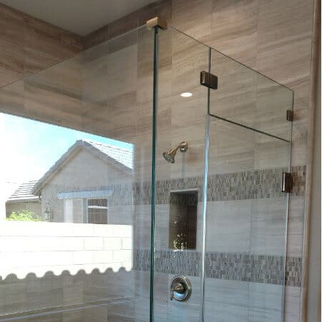Beautiful, newly installed shower glass enclosure from Glass King, Chandler's #1 choice for home glass repair services.