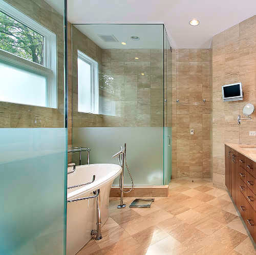 beautiful modern luxury master bathroom with recently replaced shower glass enclosures all shower - Glass Enclosures