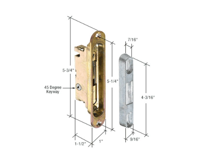 1 Quot Wide Mortise Lock And Keeper With 5 1 4 Quot Screw Holes