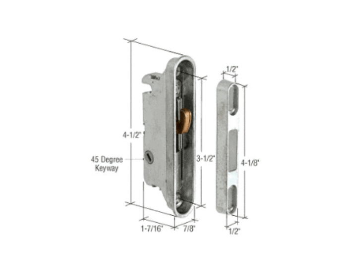 7 8 Quot Wide Mortise Lock And Keeper With 3 1 2 Quot Screw Holes